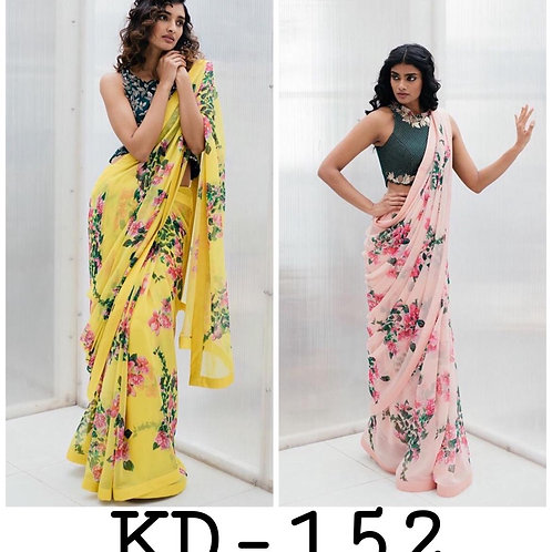 beautiful   Digital Printed Saree with less on Gorgette fabric and Banglori silk