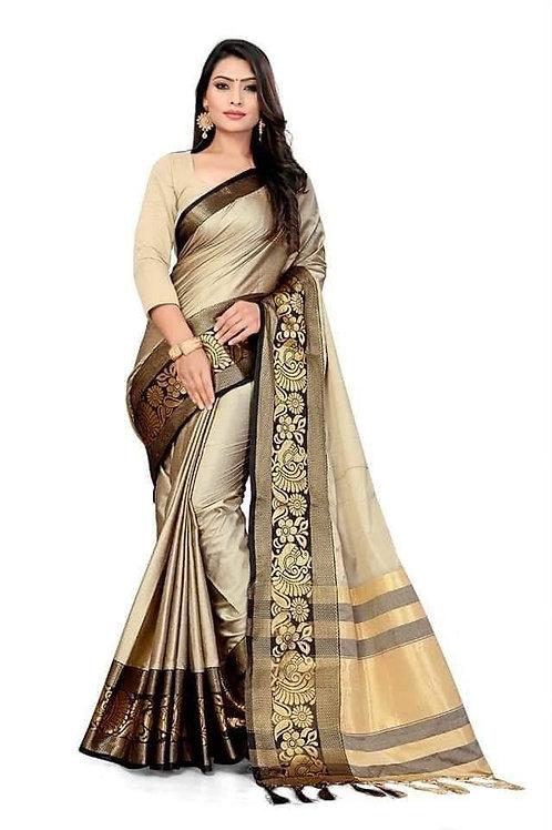 *Women's favourite  Plain Cotton Silk With Peacock & Flower Jacquard Border Sare