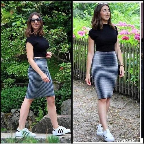 Mock neck top + stripe skirt