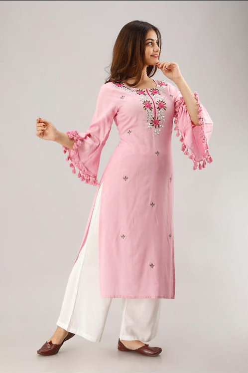 .Embroidery  work  Kurti with bell seleeves with palazo
