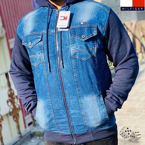 Denim style zipper hoodie