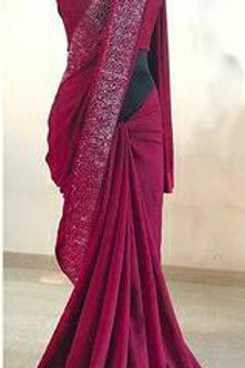 Silk Blend Embellished Diamond Work Sarees with Blouse Piece