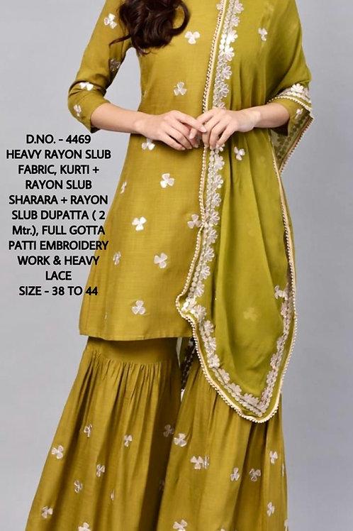 Ishin women olive Green Gotta patti Detail kurta with sharara & Dupatta