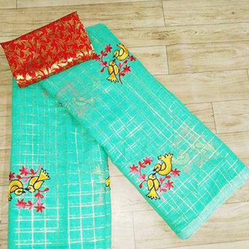 Birds Embroidered Checkered Pattern Cotton Blend Sarees With Blouse Piece