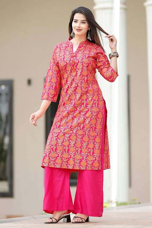 Rayon kurti with gold print