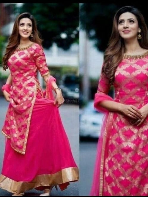 Golden print kurti with skirt