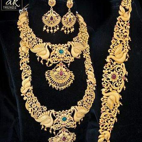 Matt Finish Multi Layered Temple Jewellery Set