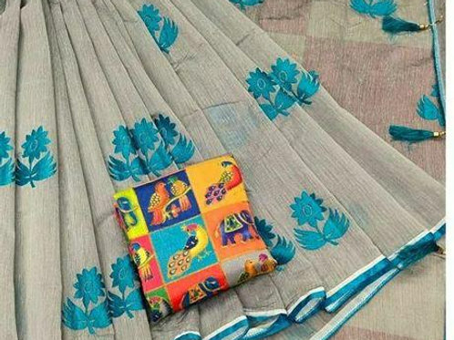 Chanderi Cotton Embroidered Sarees with Digital Printed Blouse piece
