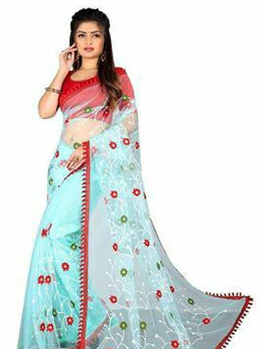 Floral Embroidered Tassel Border Net Sarees With Blouse Piece