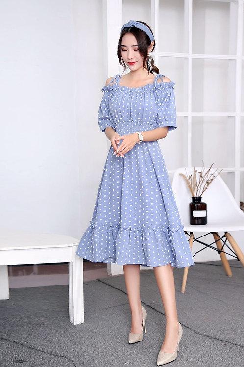 Korean style off shoulder polka dot dress