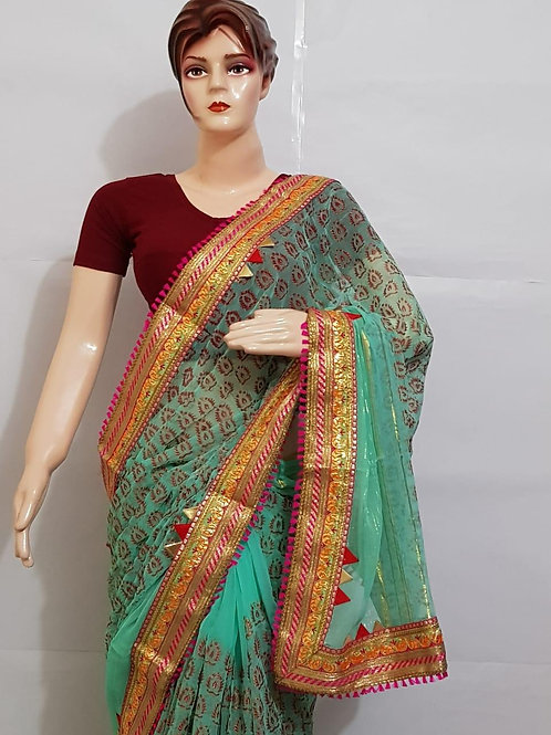 Designer Havy chiffon bordred saree with multi colours