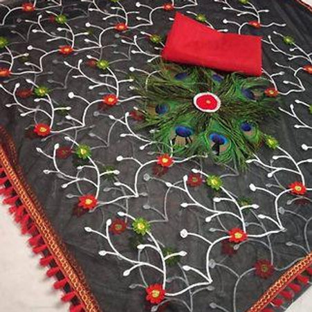 Net embroidery saree with blouse
