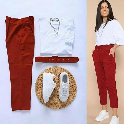 Tee + pant with belt