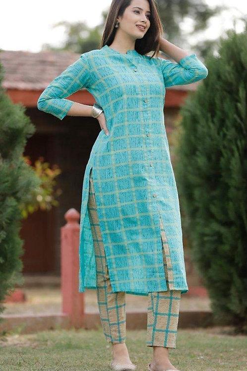 Straight printed cotton kurti pant set