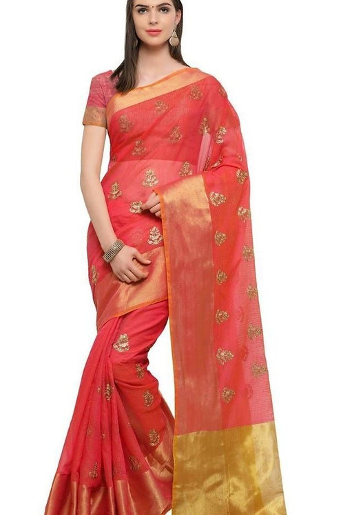 Embroidered Kota Doria Cotton Silk Sarees
