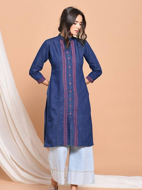 Stylish Blue Embroidered Denim straight kurti