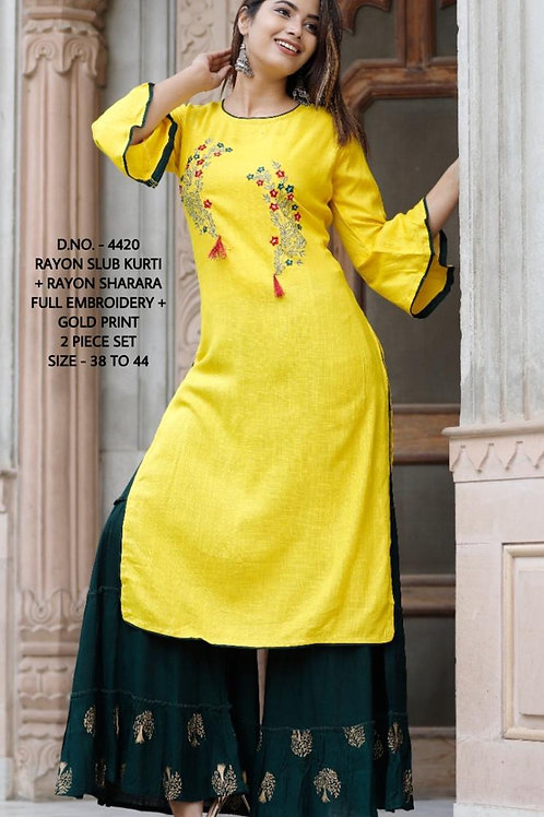 Heavy Rayon Kurti With Embroidery Work