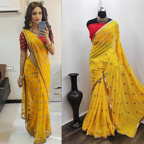 Georgette with sequence Embroidery Work Saree