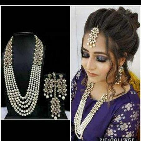 Designer pearl nd kundan necklace set