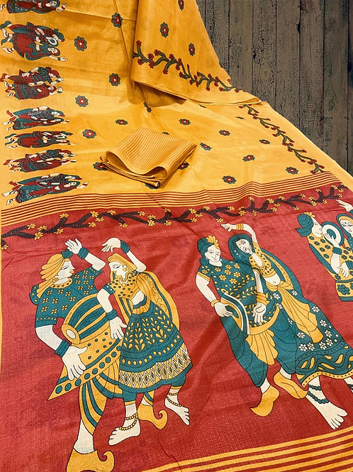 Beautiful Discharge Print Khadi Silk Saree