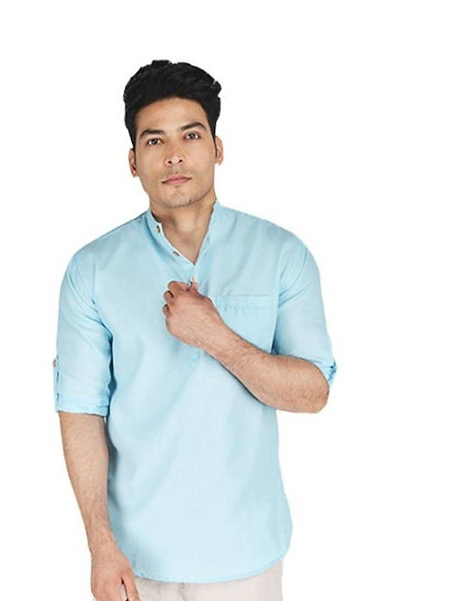 Men's Polyester Blend Solid Short Length Kurta
