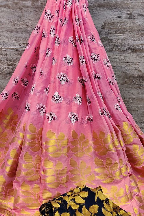 Nylon zari Patti fabric  flower print desig saree