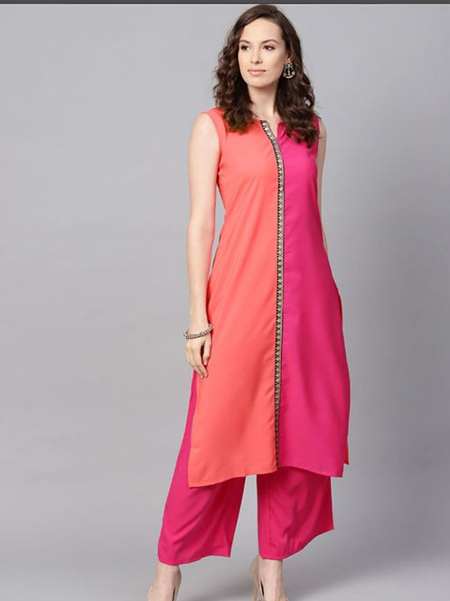 Women pink colourblocked kurta