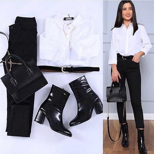Shirt + High waist jeans