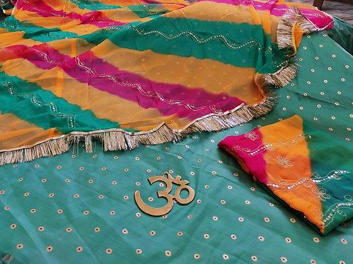 Tapita Silk lahnga with humrahi pure Jod Odhna