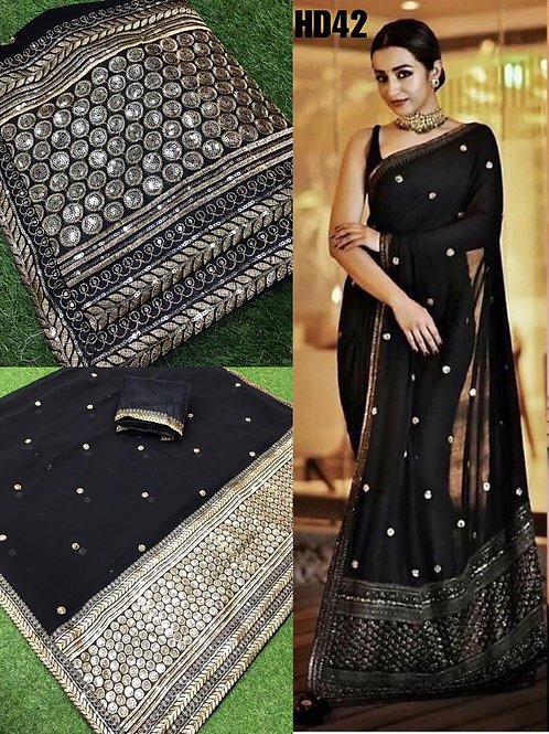 Georgette raffel saree
