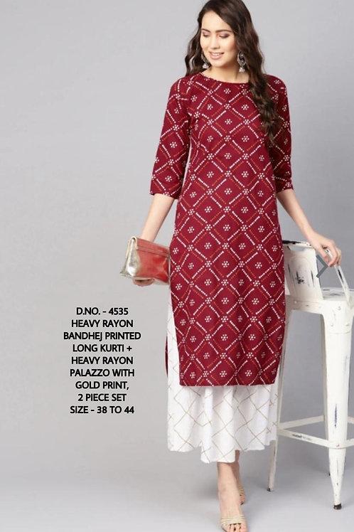 👗 *Heavy Rayon Fabric Bandhej Printed, Long Kurti