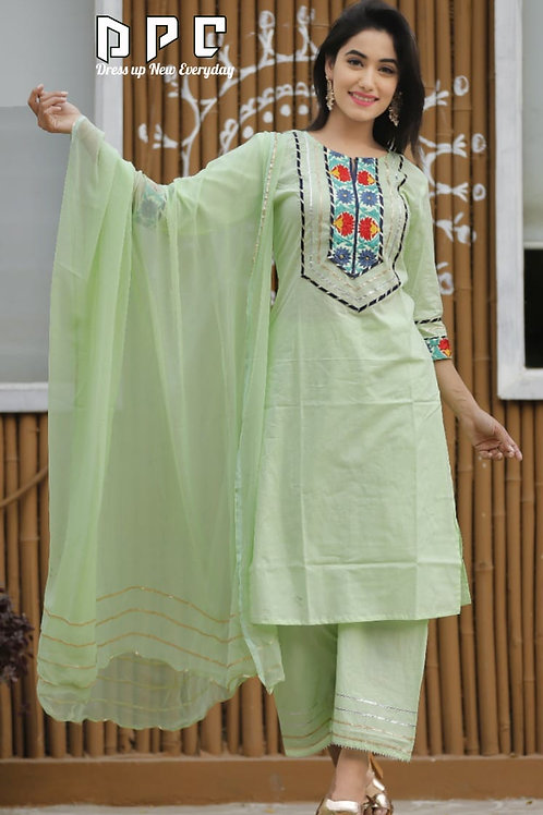 Cotton 3pc suit with heavy emb and gotta lace  on yoke..paired up with plazo pan