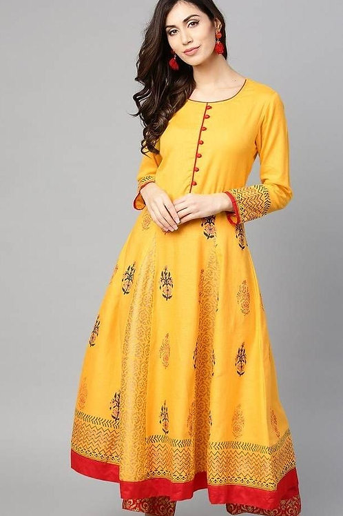 Yellow block print Anarkali kurta