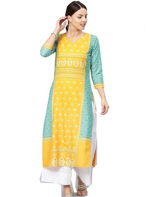 Yellow printed straight kurti