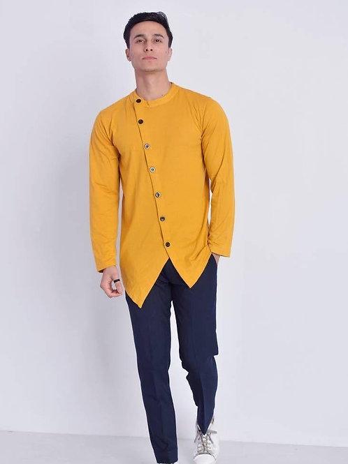 Men's Cotton Solid Short Length Kurta