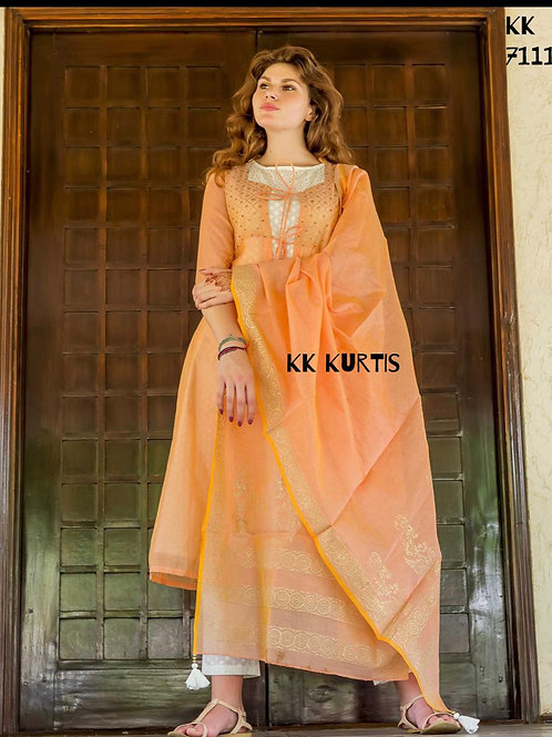INDOWESTERN* Chanderi  Suit-set with Detachable