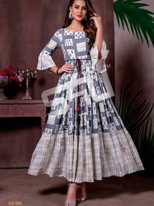 *Gown Febric-reyon with printed*