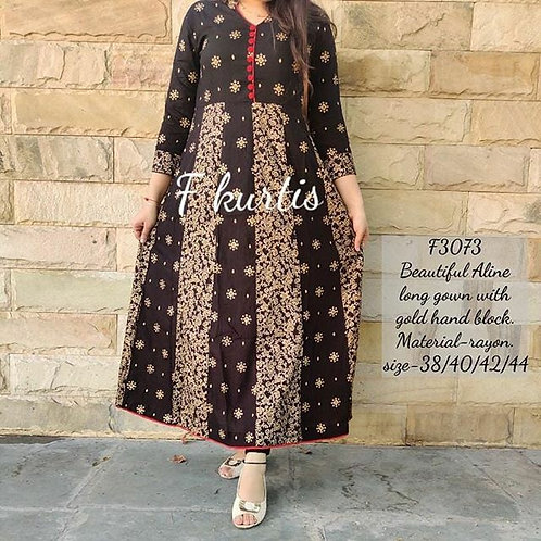 Exclusive black gold print kalidar full gown