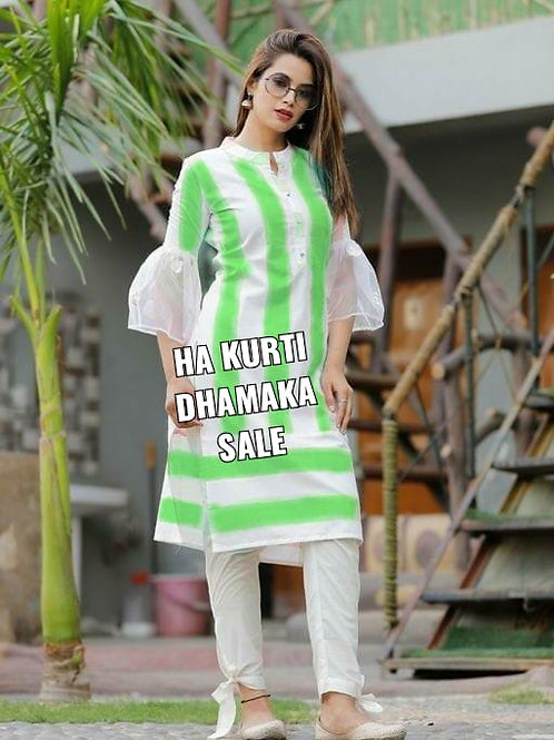 White kurti in a striped line green