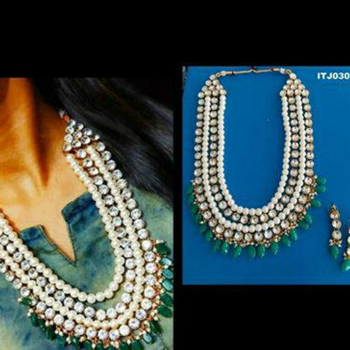 Designer pearl nd kundan necklace set vol 3