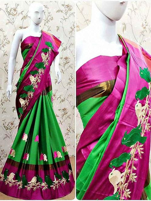 Women's Embroidery Cotton Silk Saree