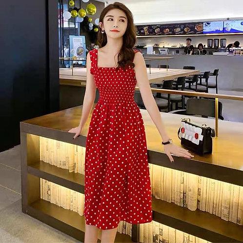 sleeveless polka doted strapless  dress*
