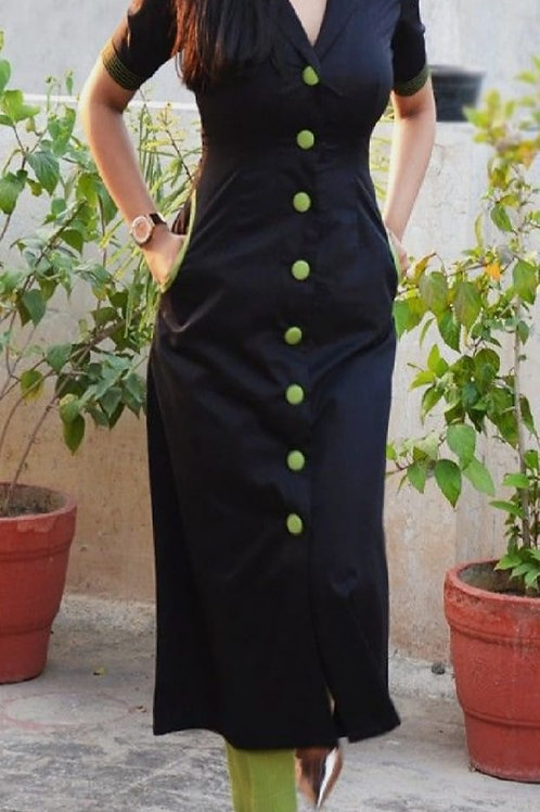 *Rayon Kurti Pant With Front Buttons*