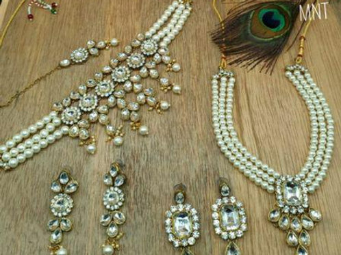 Designer Pearl Crystal Two Necklace Sets