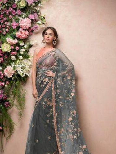 Embroidery net saree with blouse piece