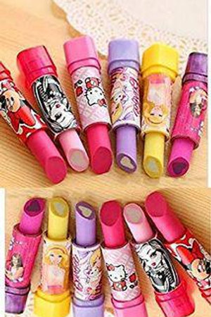 Pack of 3 - cartoon printed Lipstick shaped pencil erasers