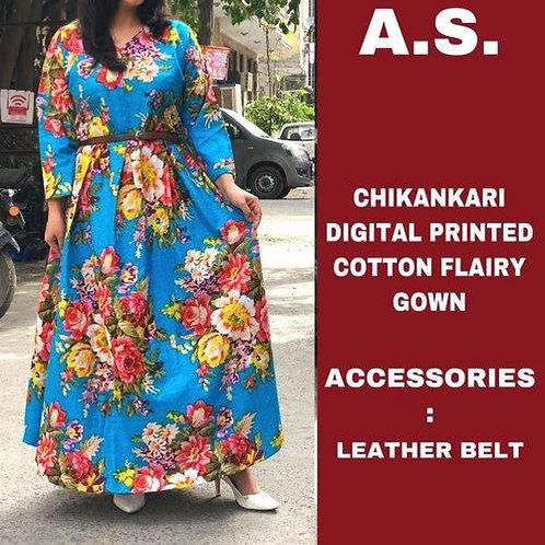 Stitched Chikan Cotton /Cotton Fabric Gown .
