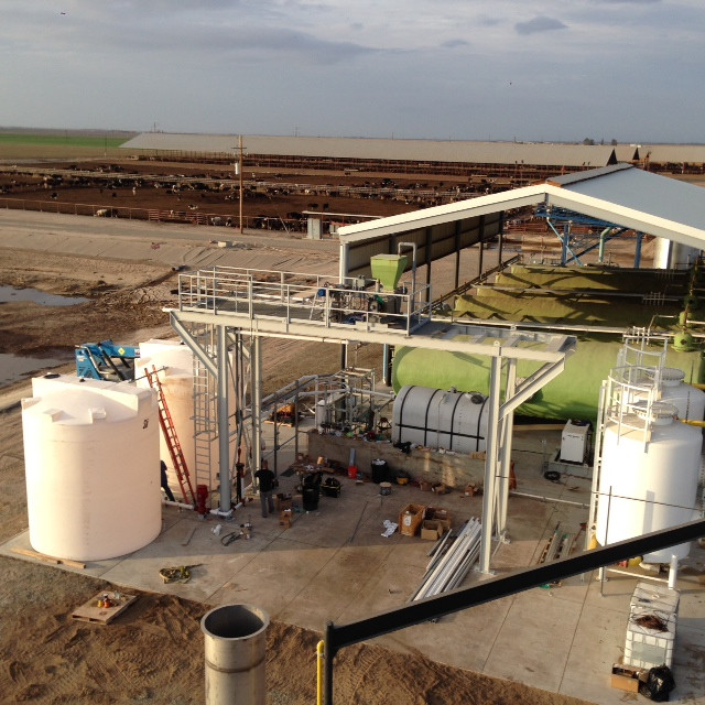 Arial Photograph of digester tanks and the Brasil Dairy farm.