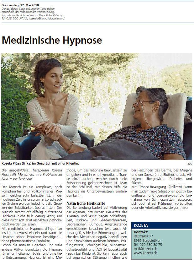 Pressebericht über Medizinische Hypnose von KOZETA