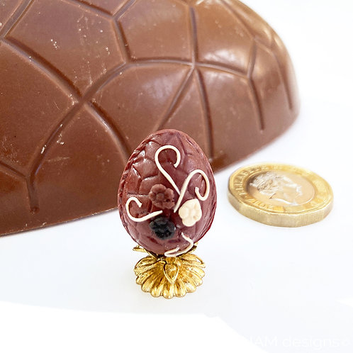 1:12 Scale Decorated Easter Egg on Gold Stand